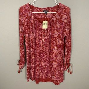 NWT lucky Brand Floral Paisley Print Tunic Top